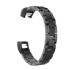 Fitbit Alta Accessory Band, MoKo Universal Stainless Steel Replacemeent Classic Watch Band Strap Bracelet with Fold Over Clasp for Fitbit Alta Smart Fitness Tracker, Tracker NOT Included – BLACK – EXERCISE WITH JOY