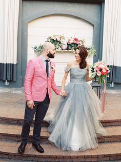 Dove Gray Sareh Nouri Wedding Dress   The Happy Bloom   http://heyweddinglady.com/modern-preppy-wedding-shoot-coral-gray/