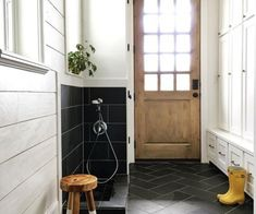 Home Tour- Black and White Mudroom and Gorgeous White Kitchen Laundry Room Tile, Laundry Decor, Kitchen Tile, Kitchen Floor, Laundry Closet, Small Laundry, Southern Living, Apartment Therapy, Filter