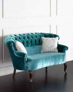 This stunning handcrafted turquoise Lulu Tufted Settee from Haute House features velvet upholstery with button tufting and an alder wood frame with dark-walnut finish. Made in the USA. Furniture Making, Home Furniture, Furniture Design, Antique Furniture, Modern Furniture, Outdoor Furniture, Furniture Outlet, Handmade Furniture, Furniture Makeover