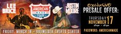 """Loveland is your only destination stop in Colorado for the """"American Made"""" tour featuring @Justin Moore and @Lee Brice at the @Budweiser Events Center on Saturday, March 18, 2017. Grab your exclusive pre-sale tickets using the link on Nov. 17, 2016 from 10am-10pm. Plan your spring break getaway with Loveland. #visitloveland http://ev12.evenue.net/cgi-bin/ncommerce3/EVExecMacro?linkID=global-bud&evm=prmo&RSRC=SPON_COLOVE&RDAT=JMLB&caller=PR"""