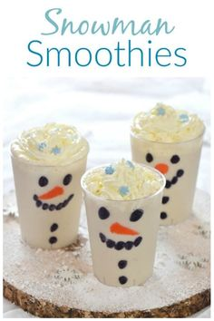 Easy Snowman Smoothies Recipe - Fun Christmas Drink for Kids : This easy snowman smoothies recipe makes a fun and healthy Christmas drink that kids will love - perfect for a North Pole Breakfast