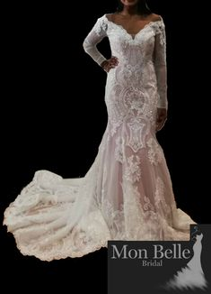 Style: LL19877 Custom design long sleeves mermaid lace wedding dress – Exclusive Gowns designed by Lindsey of Mon Belle Bridal  Colors:  Dusty pink/Ivory (picture color) OR Nude/Ivory OR Ivory/Ivory  Read description section for the story in the creation of RAVE:-