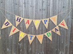 Rainbow Happy Birthday Burlap Banner on Etsy, $27.00