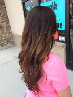 Dark chocolate brown with balyage highlights