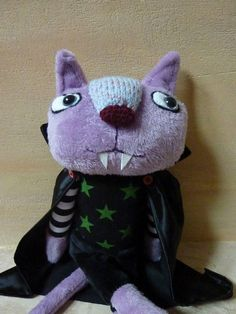 Vampire cat   funny gray plush gothic  emo style toy stuffed