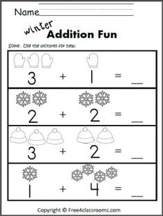 free winter addition worksheet for learning to add up to 5