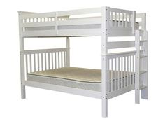 Bedz King End Ladder Bunk Bed Full over Full in White $565 at Bunk Bed King…