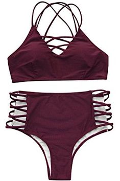 Seaselfie Women's High Waisted Push Up Cross Padding Bikini Bathing Suit, Wine Red