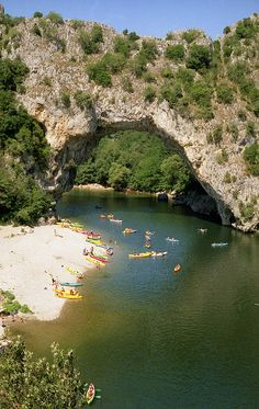 The famous natural bridge crossing the river Ardeche near Vallon Pont d'Arc, France