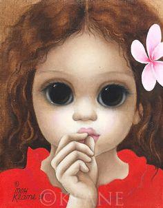 I ♥️ the Plumeria, Margaret Keane! Big Eyes Margaret Keane, Keane Big Eyes, Margret Keane, Keane Artist, Big Eyes Paintings, Appropriation Art, Big Eyes Artist, Hawaiian Art, Vintage Art