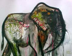 Great elephant painting by Oly and Suzi and it's huge, 5 ft x 4 ft!
