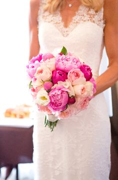 Beautiful bouquet with peonies and roses