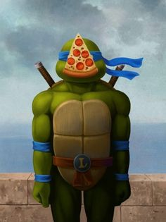 Leonardo returns to his classical roots with this Teenage Mutant Ninja Turtle/René Magritte mashup by (via Geek-Art) Teenage Mutant Ninja Turtles, Pop Art, Rene Magritte, The Son Of Man, Street Art, Humor Grafico, Geek Art, Illustrations, Cultura Pop