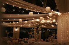 ceiling --tulle, lights and lanterns
