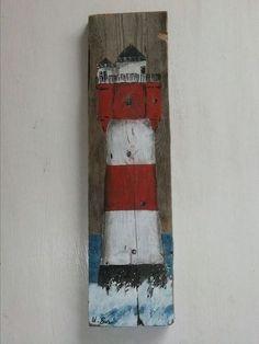 Leuchtturm´´Roter Sand´´auf Holz, Acryl von Palettes-Bilder-Shop auf DaWanda.com