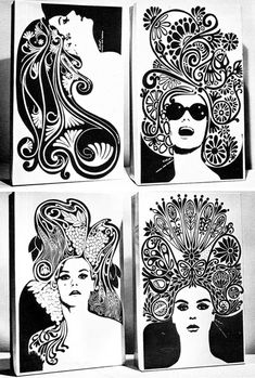 Gorgeous hair on these 60's illustrations..tangled tresses!  A visit to Blog that follows 1960-80 graphics