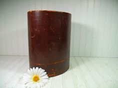 Vintage Well Worn Brown Leather Oval Waste Basket  by DivineOrders, $37.00