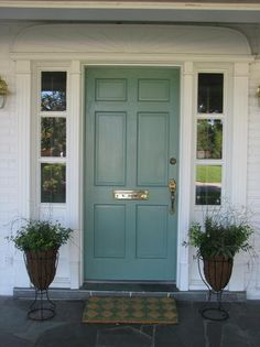 Front Door Paint Colors - Want a quick makeover? Paint your front door a different color. Here a pretty front door color ideas to improve your home's curb appeal and add more style! Teal Front Doors, Front Door Paint Colors, Painted Front Doors, Duck Egg Blue Front Door, Best Front Door Colors, Purple Door, Blue Doors, Exterior Doors, Entry Doors