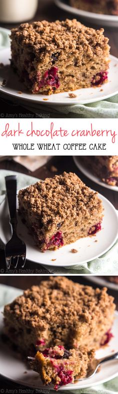 Dark Chocolate Cranberry Coffee Cake -- the perfect holiday treat! This skinny breakfast cake doesn't taste healthy at all! Just wait 'til you try the buttery crumb topping!