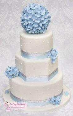 This is a 3 tier cake, the hydrangeas on the top is a styrofoam ball. Thanks for looking :-)