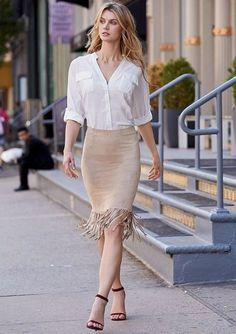 #Ellie Faux Suede Fringe Skirt: