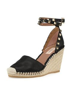 Rockstud Ankle-Wrap Espadrille Wedge, Black/Light Cuir by Valentino at Neiman Marcus.