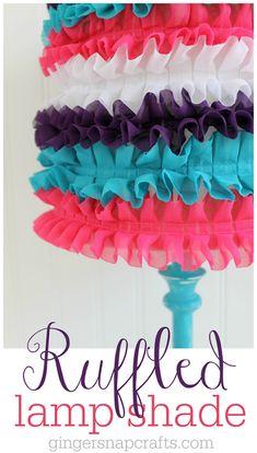 Ginger Snap Crafts: Ruffled Lamp Shade with LED Power {tutorial} Ruffle Lamp Shades, Square Lamp Shades, Ceiling Lamp Shades, Country Lamps, Rustic Lamps, Spring Projects, Cool Diy Projects, Diy Crafts, Led