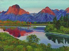 David Lloyd Glover - Teton Lake - Plein Air painting acrylic on canvas