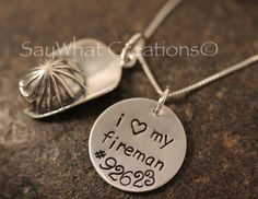 My valentines gift from Ryan.    Custom Hand Stamped Sterling Silver Fireman by SayWhatCreations, $52.00