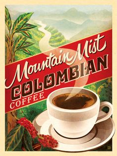 Hey, look what I found! Check out Colombian Coffee by Americanflat on Bezar Vintage Advertising Posters, Vintage Advertisements, Vintage Posters, Charley Harper, Illustrator, Café Chocolate, Colombian Coffee, Pinterest Instagram, Retro Poster