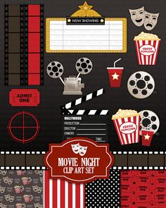 Movie Night Clip Art set - Cinema Theatre or Theater Clipart Scrapbook Kit popcorn, film, movie reel, marquee (commercial or personal) Movie Theater Party, Cinema Party, Movie Night Party, Cinema Theatre, Hollywood Party, Red Carpet Theme Party, Movie Reels, Film Movie, Movie Themes