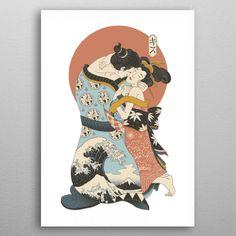 The Kiss Ukiyo e Paintings Poster Print | metal posters - Displate Fine Art Prints, Framed Prints, Poster Prints, Canvas Artwork, Canvas Prints, Love Is Comic, Animal Tattoos, Decoration, Design Art