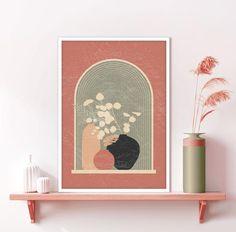 Diy Canvas Art, Painting Canvas, Framed Canvas, Orange Wall Art, Window View, Plant Art, Minimalist Art, Nursery Wall Art, Printing Services
