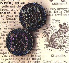 """Gorgeous Victorian Jet Glass Buttons  These 5/8"""" little turn of the century pretties are the most stunning Victorian Jet Glass buttons we've seen in awhile. The fussy details are the kind not seen in this century, that's for sure"""