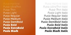 Check out the Pusia font at Fontspring. Pusia consists of 20 fonts - 10 weights and their corresponding italics.