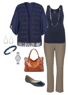 """I could maybe see my mom wear this to work. Idk for sure about the sheer piece. Plus Size Outfit"" by jmc6115 on Polyvore"