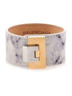 Le Dix marble-print leather cuff | Balenciaga | MATCHESFASHION.COM US