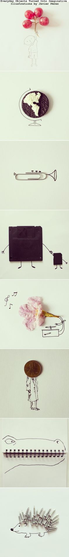 Everyday Objects Turned Into Imaginative Illustrations by Javier Pérez.