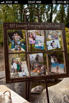 Old window frame to display photos