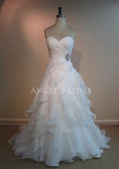 Ruffles Wedding Dresses, Ivory Organza Wedding dress, Wedding gowns, Bridal Dresses on Etsy, $259.00
