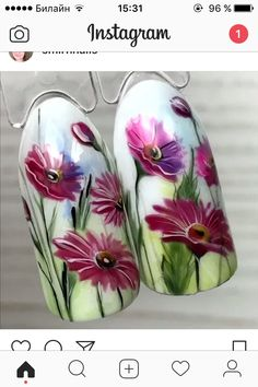 Nail Ink, Gel Nail Art, Manicure And Pedicure, Flower Nail Designs, Nail Art Designs, Nail Art Wheel, Flower Nails, Nail Wraps, Spring Nails