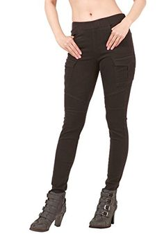 6f230a1ae2f368 Mascara Women's Colored Skinny Jeans Jeggings Cargo Pants Elastic Waist  black Large ** Want additional info? Click on the image. (This is an  affiliate link) ...