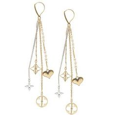 Louis Vuitton Fine Jewelry 18kt Yellow and White Gold Dangle Earrings.
