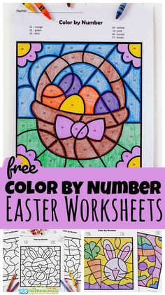 FREE Color by Number Easter Worksheets - super cute free printable to help toddlers, preschool, pre k, and kindergarten age students work on number recognition and srengthening fine motor skills with a fun easter activity for april Kindergarten Age, Free Kindergarten Worksheets, Free Preschool, Preschool Activities, April Preschool, Easter Activities For Toddlers, Free Worksheets, Thanksgiving Activities, Indoor Activities