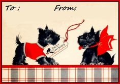 #Scottie Dog #Christmas tags, click the picture to be taken to a PDF FREE download of a sheet of them!
