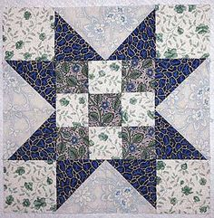 Evening Star Quilt Block with Nine-Patch Centers