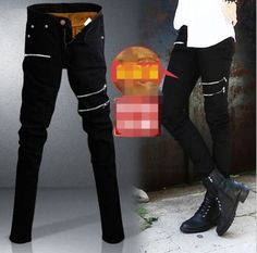 Winter-Korean-Men-Slim-Fit-Classic-Fur-Lining-Skinny-Jeans-Casual-Trousers-27-34