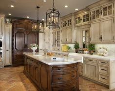 Here is a rustic, earth tone example with warm wood tones one cabinets and floor mixed in with some grays in the backsplash. Description from pinterest.com. I searched for this on bing.com/images