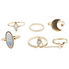 Charlotte Russe Dreamy Stackable Rings - 5 Pack ($4.20) ❤ liked on Polyvore featuring jewelry, rings, gold, stackable midi rings, midi rings jewelry, charlotte russe jewelry, charm jewelry and top finger rings